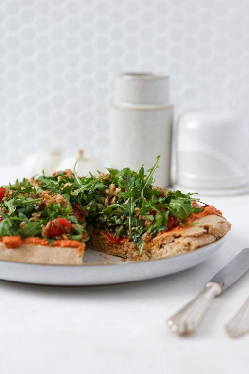 Wholegrain Spelt Pizza With Smoked Red Paprika Hummus