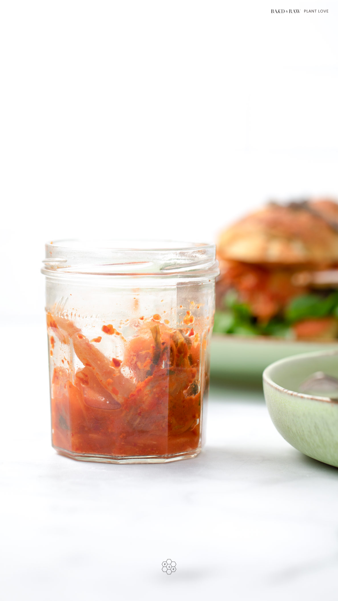 Kimchi as the perfect Black Bean burger topping by bakd&raw