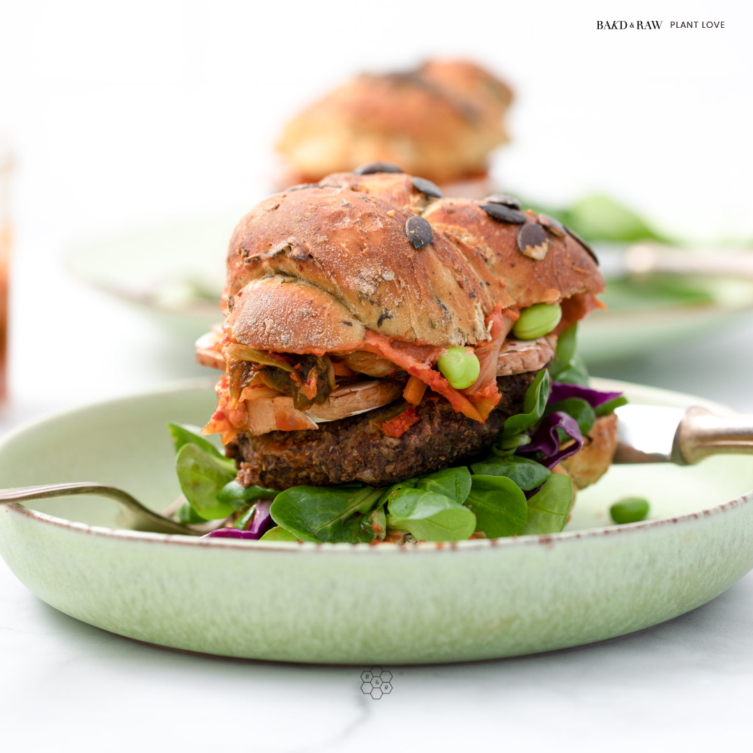 Ultimate Black Bean Burger with Kimchi by Bakd&Raw