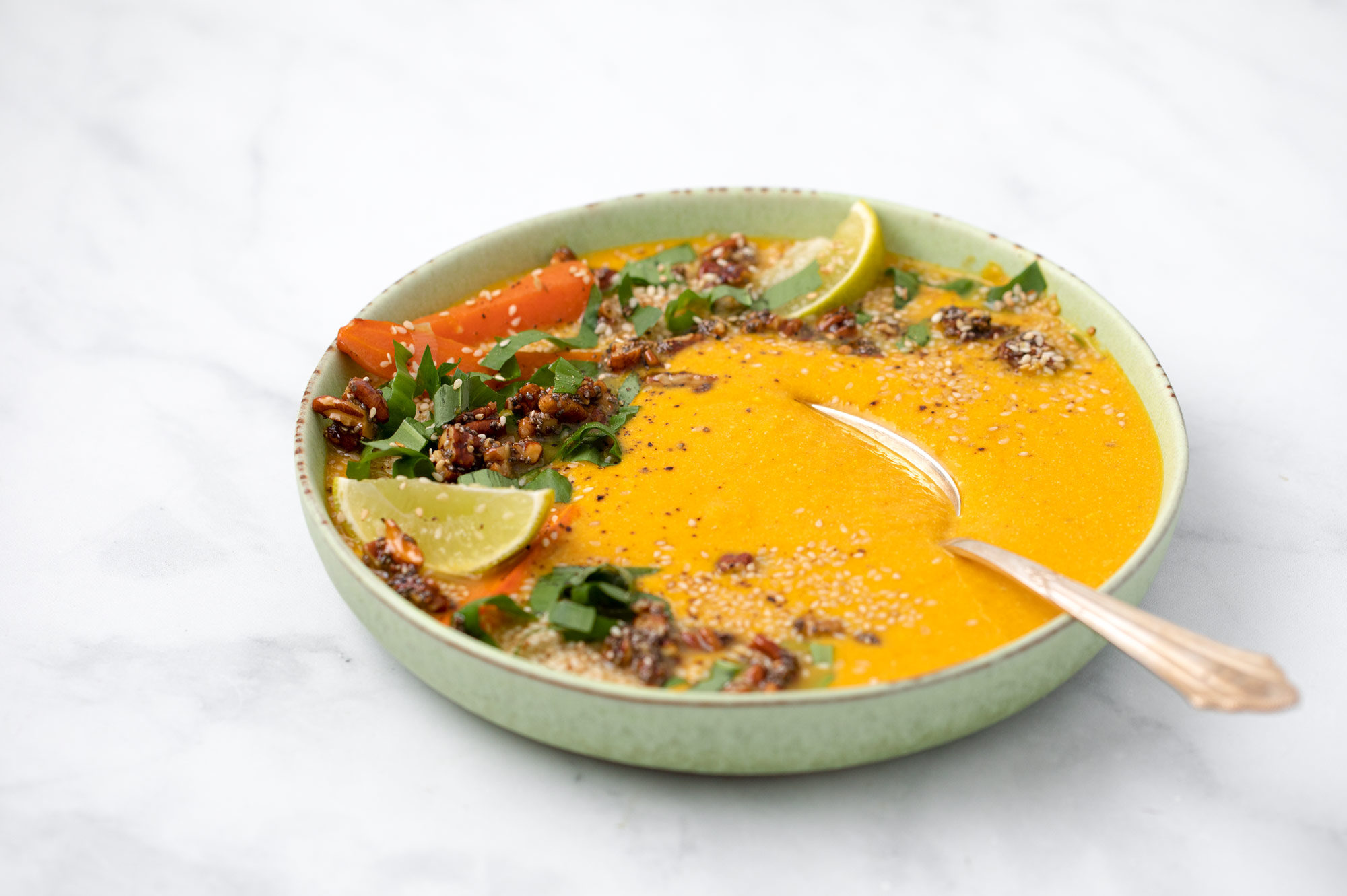 Miso-Carrot Soup with Spring Topping Wild Garlic and Lime by Bakd&Raw