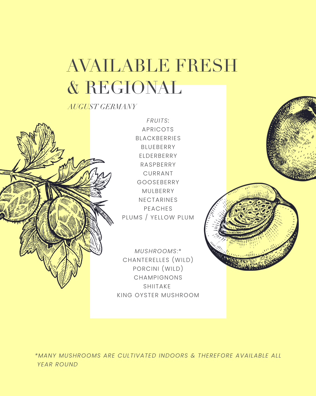 produce overview - available fresh and regional fruits and mushrooms in august