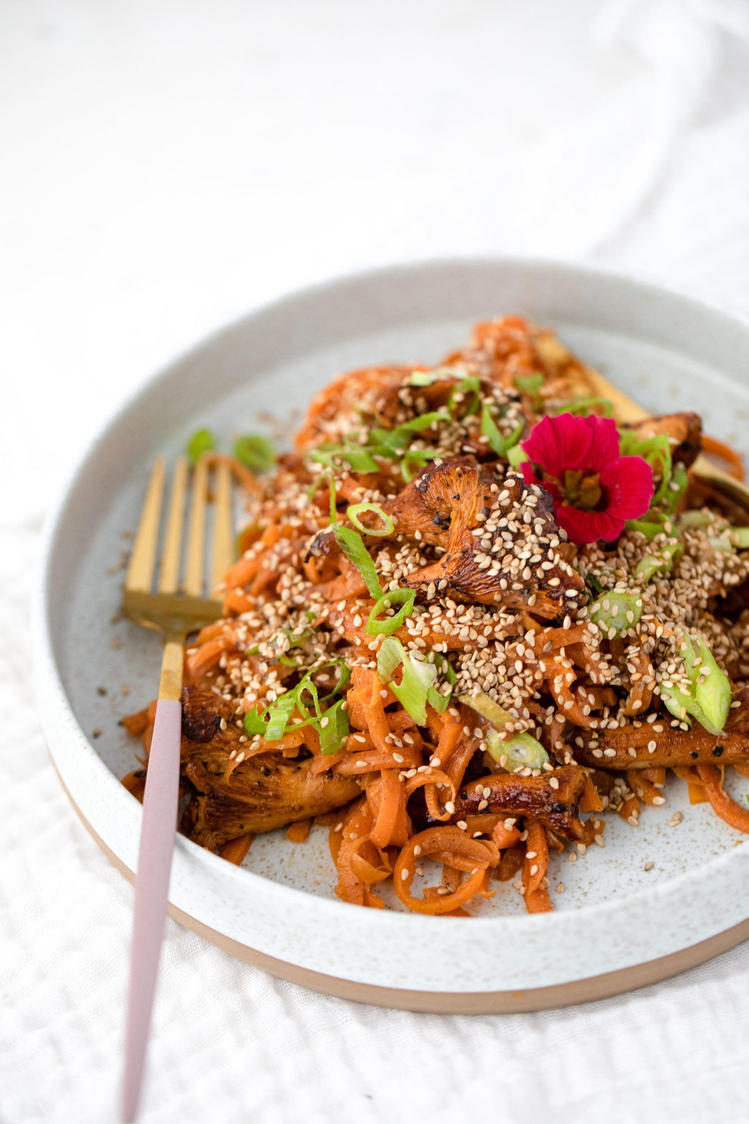 Asian Inspired Carrot Noodles With Chanterelles