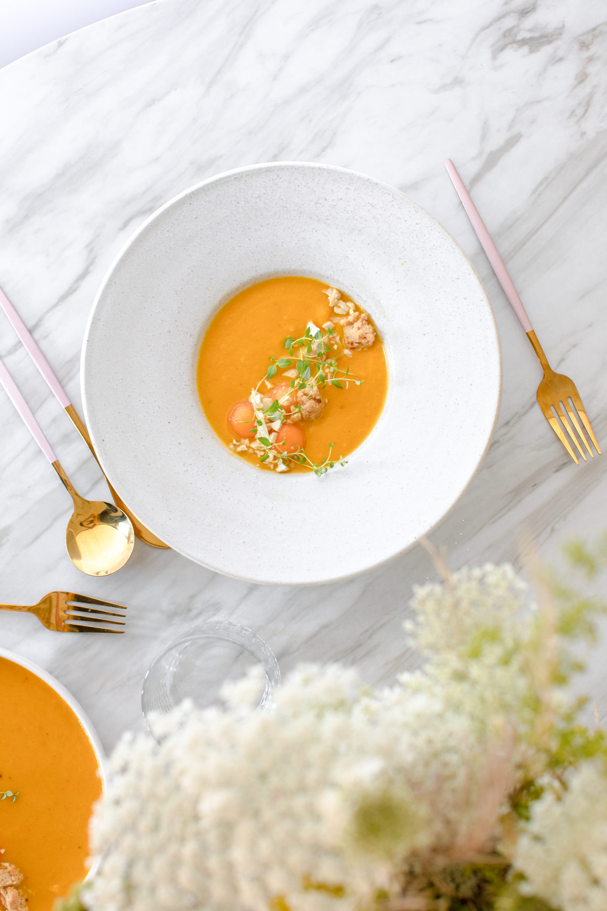 Spicy Cantaloupe Melon-Carrot Soup with Crunchy Umami Crumble