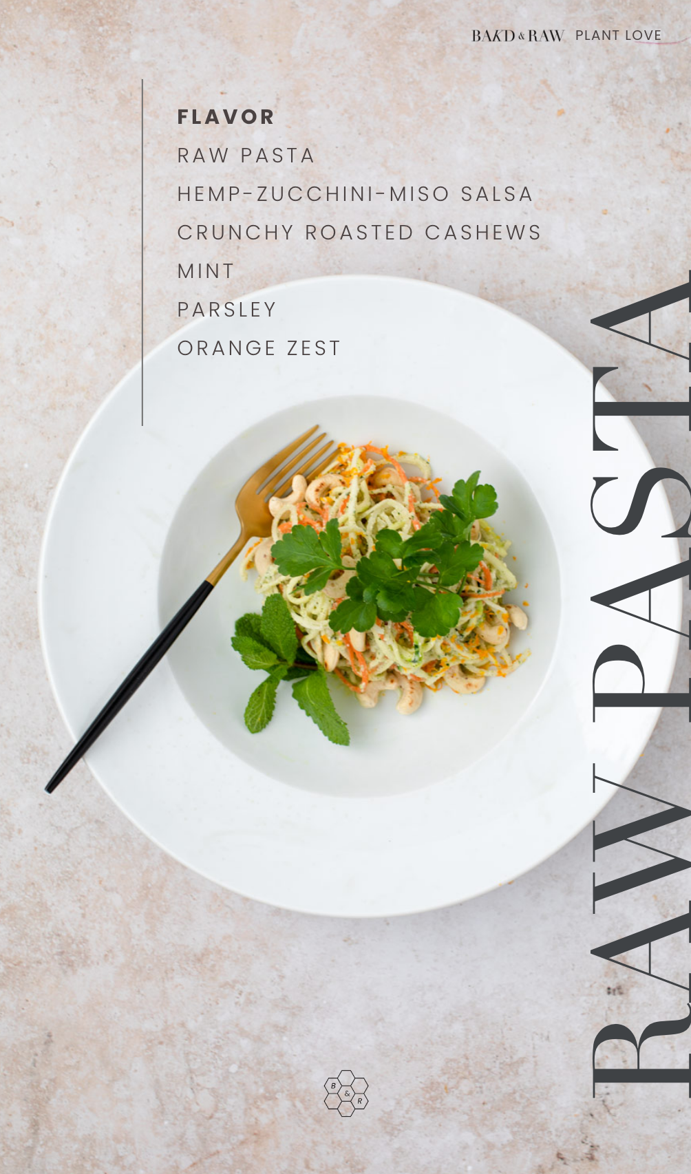 Delicious and healthy raw pasta with cashew crunch by Karolin Baitinger