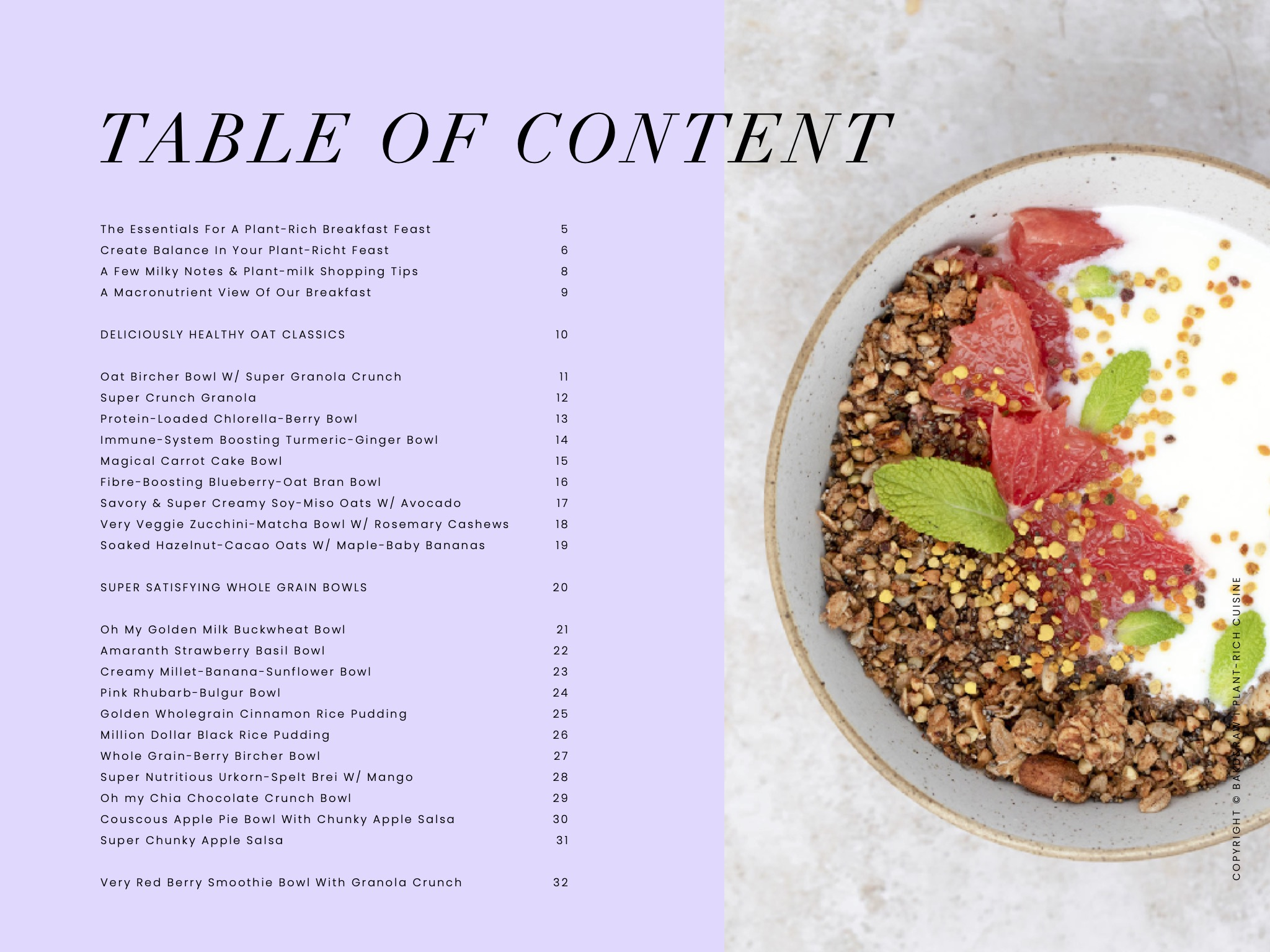 Table of content of the Bakd&Raw Free Breakfast E-Book