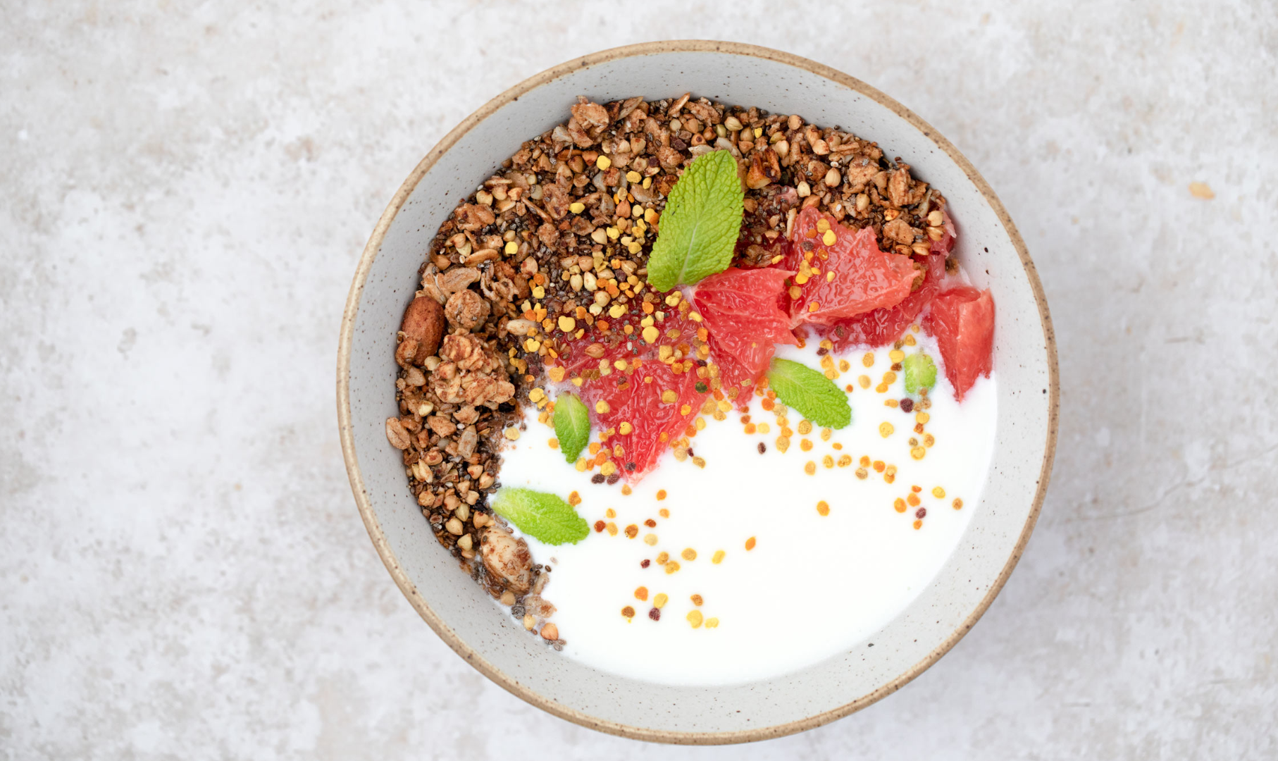 Kefir Bowl with Granola, Grapefruit and Bee Pollen