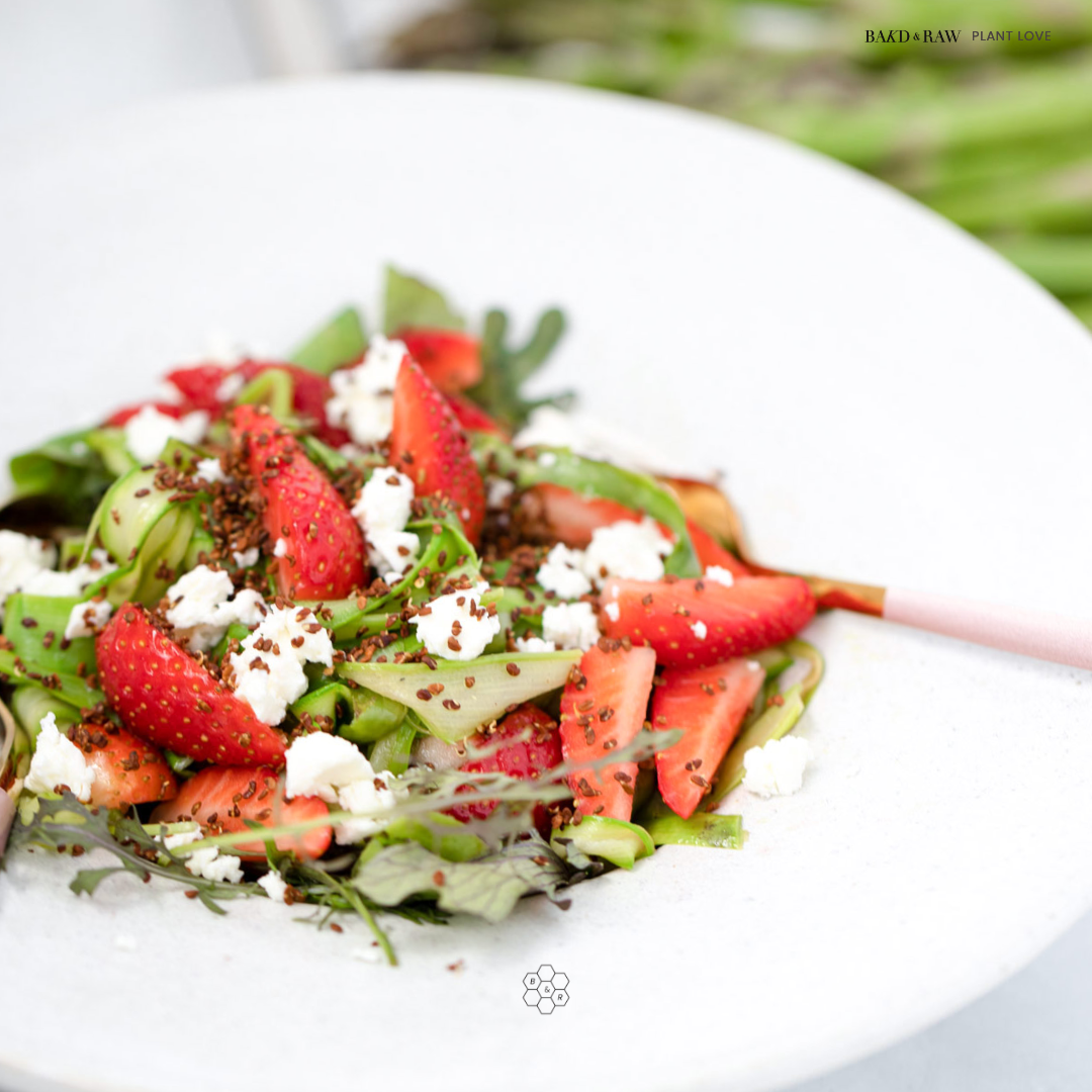 Healthy Asparagus-Strawberry Salad with Alfalfa Topping by Bakd&Raw