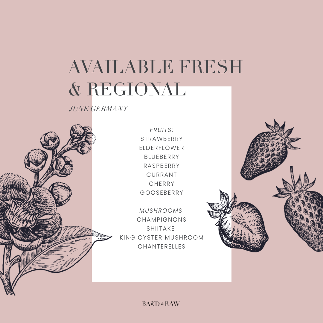 Eating seasonal; overview over freshly available fruits and mushrooms by bakd&raw